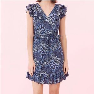 Rebecca Taylor Blue & Black Floral Silk Dress Size